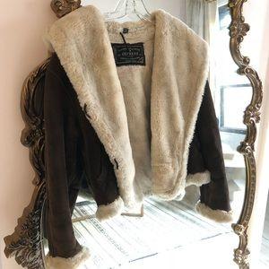 Vintage Express leather shearling jacket 70s boho